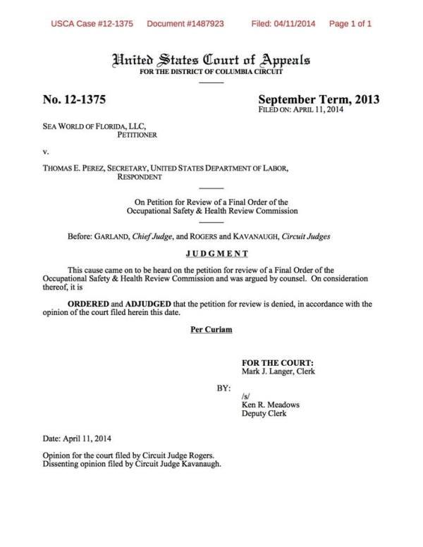 US Court of Appeals Decision: SeaWorld vs OSHA